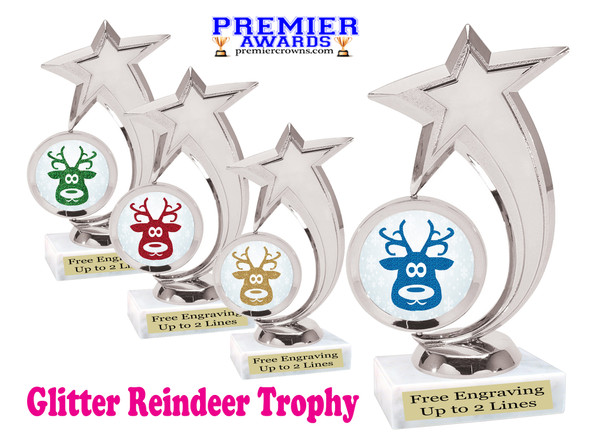 Glitter Reindeer trophy.  Great trophy for all of your holiday events and pageants. 6061