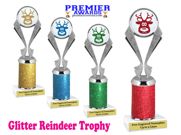 Glitter Reindeer trophy.  Great trophy for all of your holiday events and pageants. 1-5096