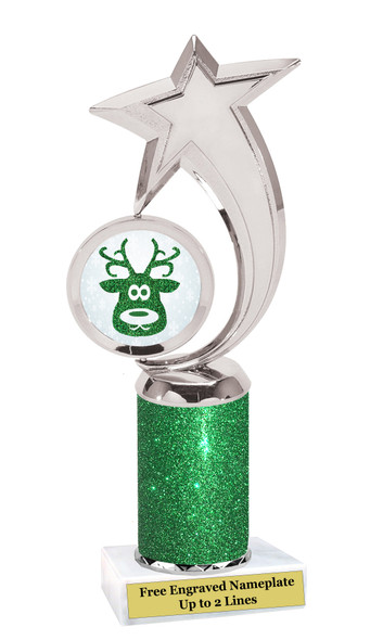 Glitter Reindeer trophy.  Great trophy for all of your holiday events and pageants. 1-6061