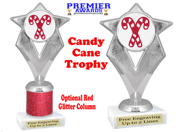 Glitter Candy Cane trophy.  Great trophy for all of your holiday events and pageants. 5086s