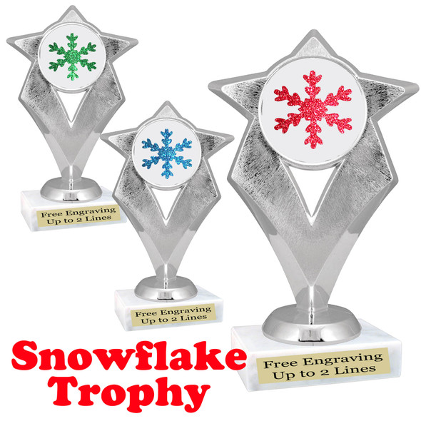 Glitter Snowflake trophy.  Great trophy for all of your holiday events and pageants.   5086s