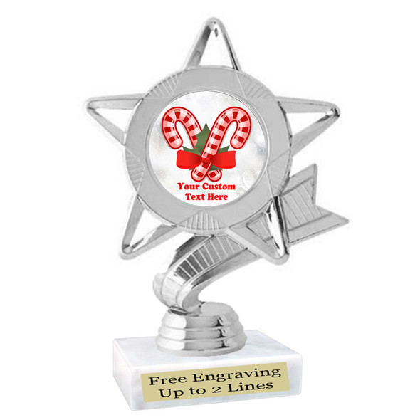 Custom Candy Cane trophy.  Great trophy for all of your holiday events and pageants.   5043S