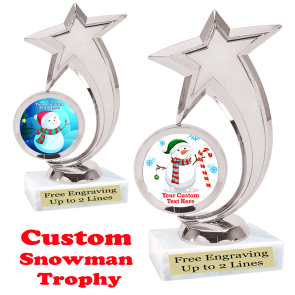 Custom Snowman trophy.  Great trophy for all of your holiday events and pageants. 6061