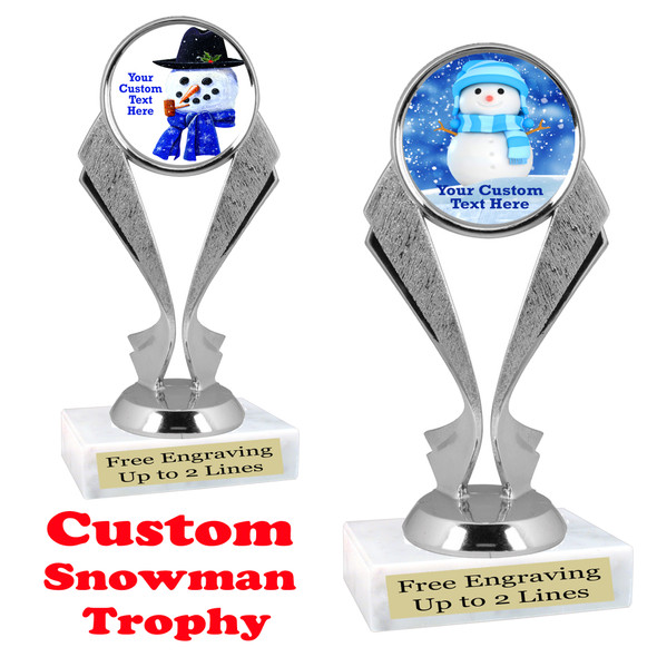 Custom Snowman trophy.  Great trophy for all of your holiday events and pageants. 5096