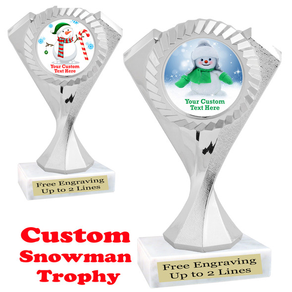 Custom Snowman trophy.  Great trophy for all of your holiday events and pageants. 5455