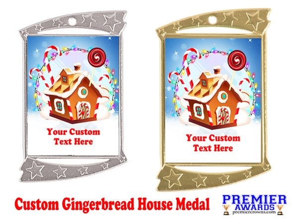 Custom Gingerbread House Medal.  Great for all of your holiday events and parties. -2