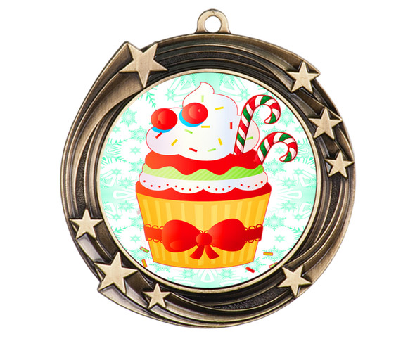 Holiday Cupcake  medal.  Great medal for those Holiday Events, Baking Contests and more!  930-g