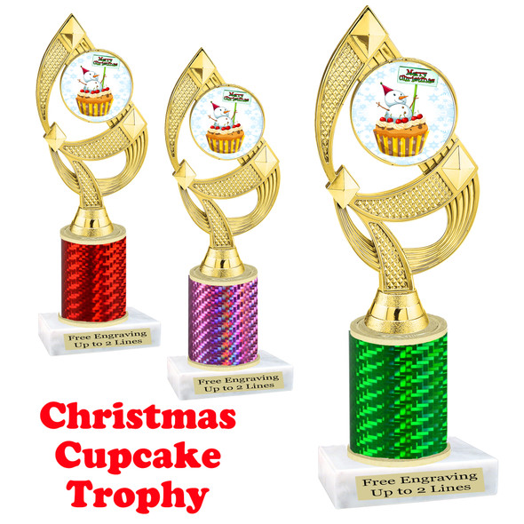 Holiday Cupcake theme trophy.  Great for your Holiday events, contests and parties.  Design 1  ph108