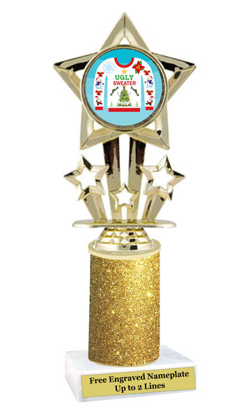Ugly Sweater theme trophy. Add some bling to your Holiday Events with this Glitter column trophy.  767