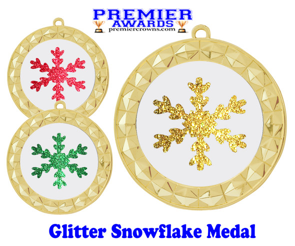 Glitter Snowflake  medal.  Great medal for those Holiday Events, Pageants, Contests and more!  935g