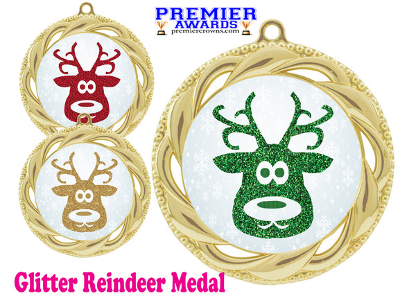 Glitter Reindeer  medal.  Great medal for those Holiday Events, Pageants, Contests and more!  938g