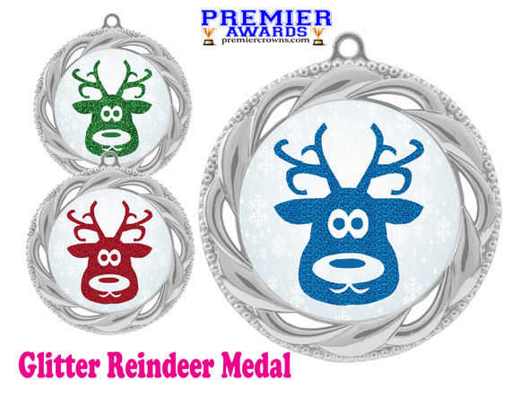 Glitter Reindeer  medal.  Great medal for those Holiday Events, Pageants, Contests and more!  938s