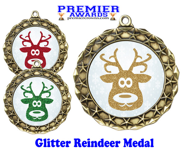Glitter Reindeer  medal.  Great medal for those Holiday Events, Pageants, Contests and more!  md40g