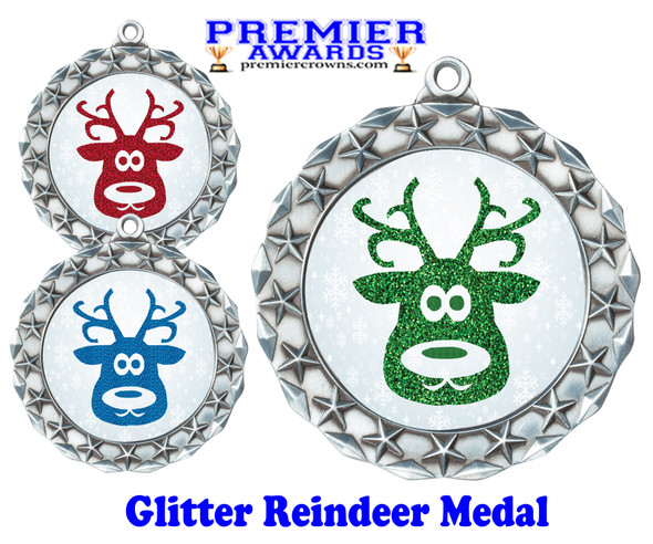Glitter Reindeer  medal.  Great medal for those Holiday Events, Pageants, Contests and more!  md40s