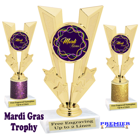 Mardi Gras Theme trophy.  Great trophy for your pageants, events, contests and more!   Gl-001