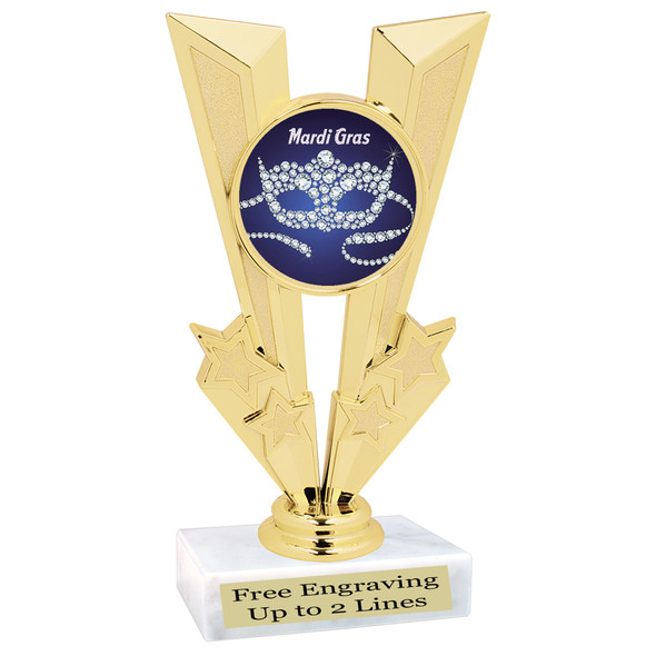 Mardi Gras Theme trophy.  Great trophy for your pageants, events, contests and more!   Gl-002