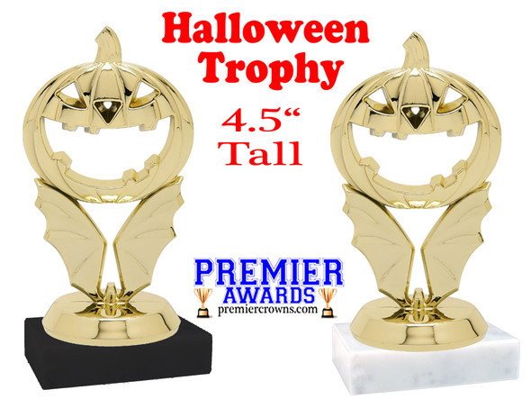 """Carved Pumpkin Trophy - 4 1/2"""" tall.  Great for all of your Halloween events!"""