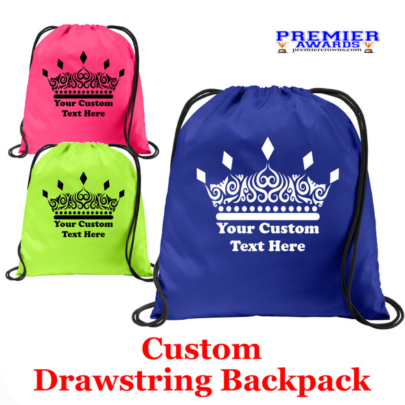 Customizable Cinch Backpack.  Great for awards, gifts and raffles.   (004