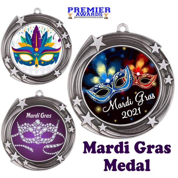 Mardi Gras theme medal.  Great medal for your pageants, contests, competitions and more.  930s
