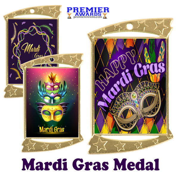 Mardi Gras theme medal.  Great medal for your pageants, contests, competitions and more.  927g