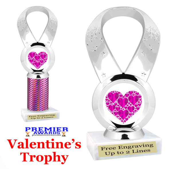Valentine theme trophy.  Great trophy for your pageants, events, contests and more!   5093-2