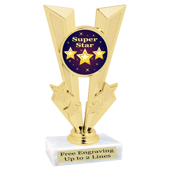 Super Star theme trophy.  Great trophy for your pageants, events, contests and more!   92746