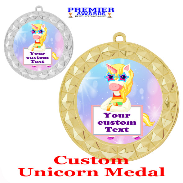 Custom Unicorn theme medal.  Great medal for your pageants, contests, competitions and more.