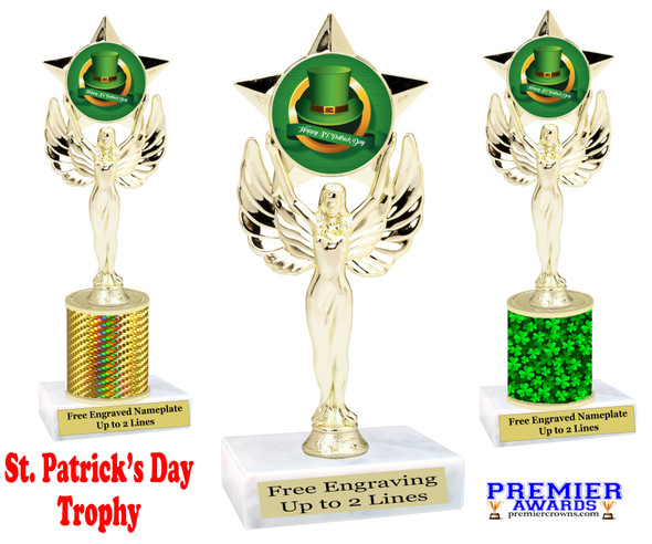 St. Patrick's Day Trophy.   Great award for your pageants, events, competitions, parties and more.  -003