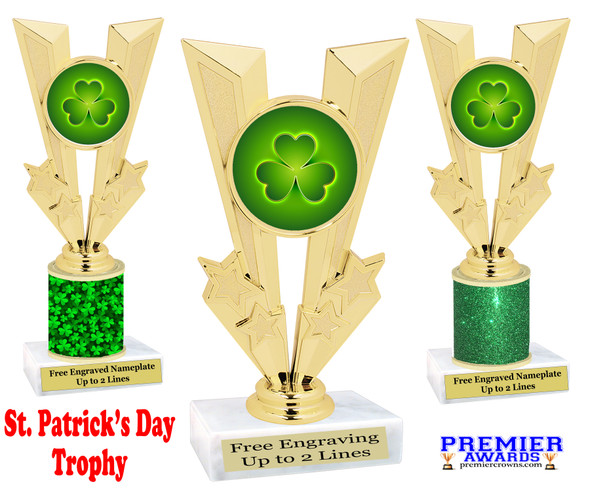 St. Patrick's Day Trophy.   Great award for your pageants, events, competitions, parties and more.  -004