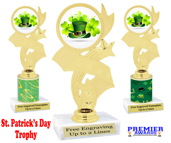 St. Patrick's Day Trophy.   Great award for your pageants, events, competitions, parties and more.  -005