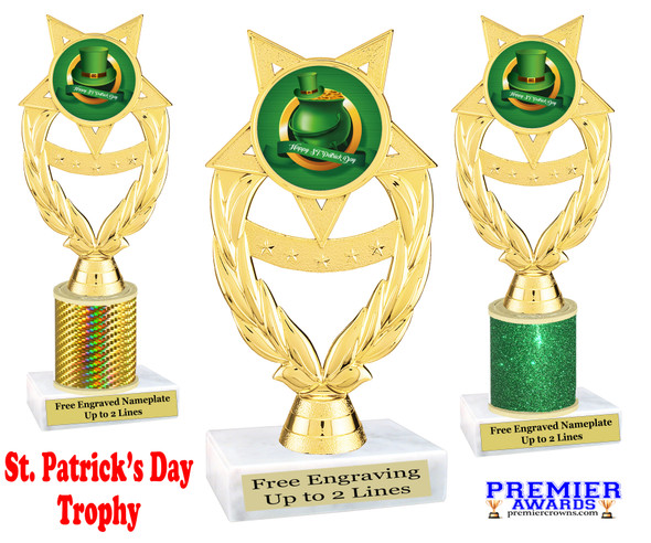 St. Patrick's Day Trophy.   Great award for your pageants, events, competitions, parties and more.  -007