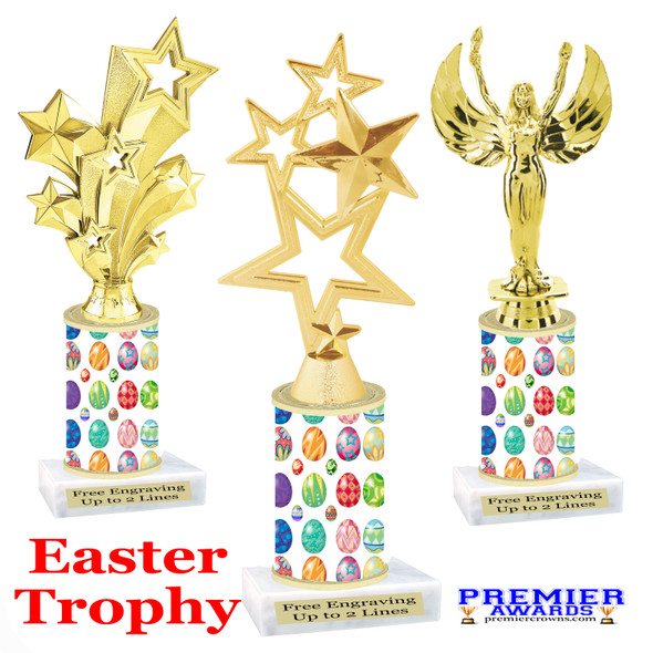 Easter theme trophy.  Festive award for your Easter pageants, contests, competitions and more