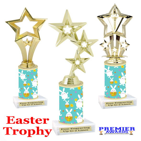 Easter theme trophy.  Festive award for your Easter pageants, contests, competitions and more.  002