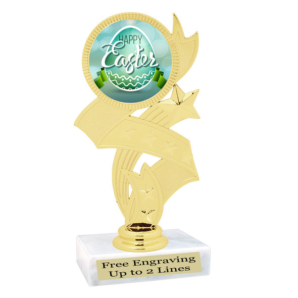 Easter theme trophy.  Festive award for your Easter pageants, contests, competitions and more.  92766