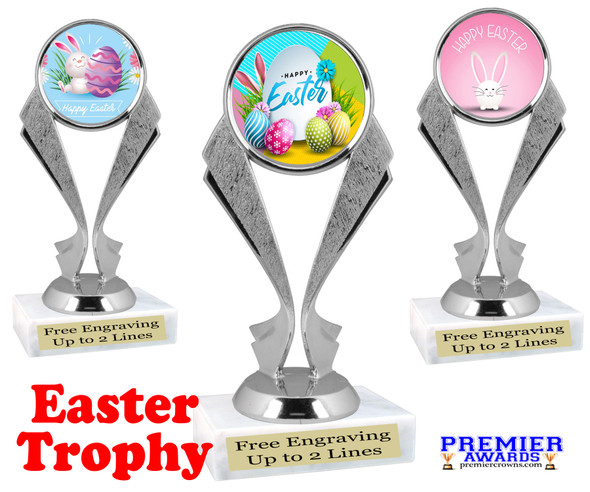 Easter theme trophy.  Festive award for your Easter pageants, contests, competitions and more.  5096