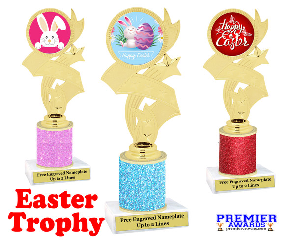 Easter theme trophy.  Festive award for your Easter pageants, contests, competitions and more.  Glitter Column - 92766