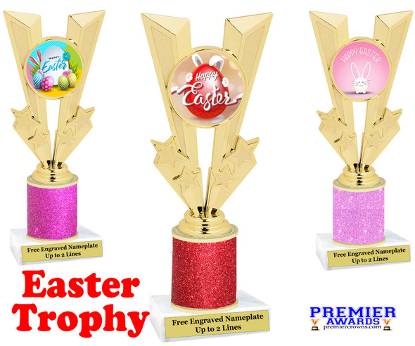 Easter theme trophy.  Festive award for your Easter pageants, contests, competitions and more.  Glitter Column - 92746