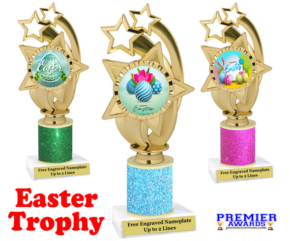 Easter theme trophy.  Festive award for your Easter pageants, contests, competitions and more.  Glitter Column - ph55