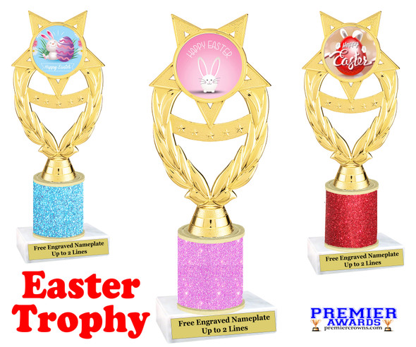 Easter theme trophy.  Festive award for your Easter pageants, contests, competitions and more.  Glitter Column - ph97