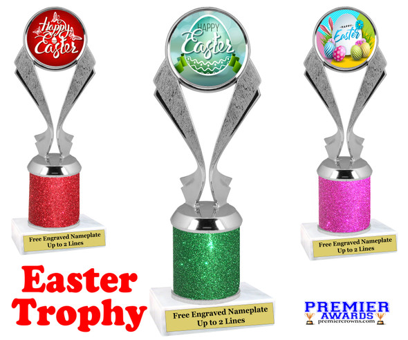Easter theme trophy.  Festive award for your Easter pageants, contests, competitions and more.  Glitter Column - 5096
