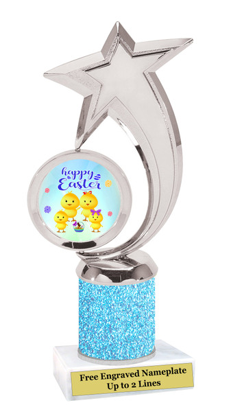 Easter theme trophy.  Festive award for your Easter pageants, contests, competitions and more.  Glitter Column - 6061