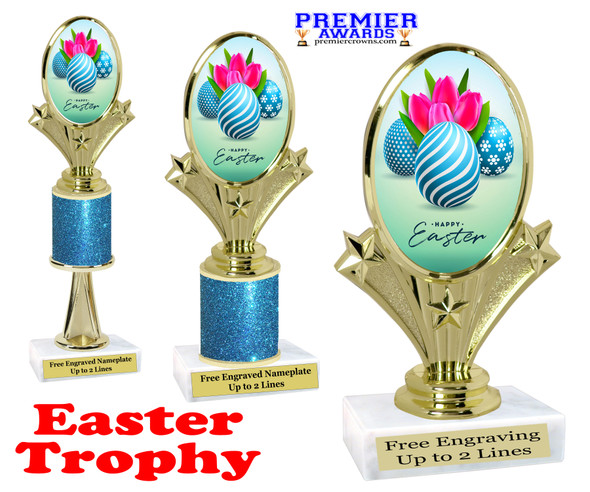 Easter theme trophy.  Festive award for your Easter pageants, contests, competitions and more.  90075-3