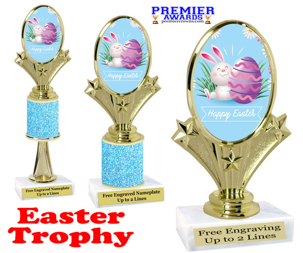Easter theme trophy.  Festive award for your Easter pageants, contests, competitions and more.  90075-4
