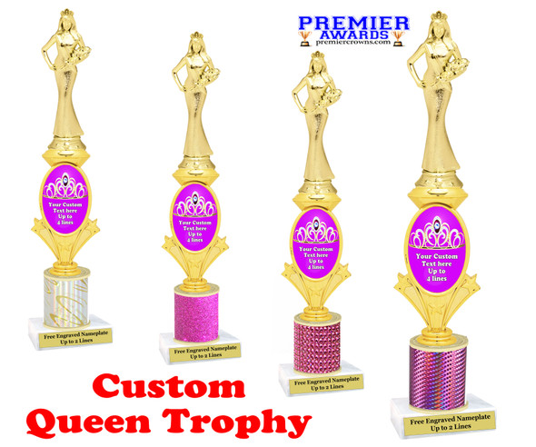 Custom Queen trophy.  Great for your pageants, contests, competitions and for the Queen in your life.  Pink