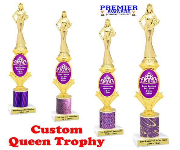 Custom Queen trophy.  Great for your pageants, contests, competitions and for the Queen in your life.  Purple