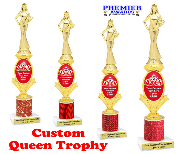 Custom Queen trophy.  Great for your pageants, contests, competitions and for the Queen in your life.  Red