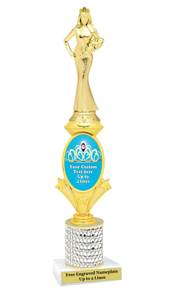 Custom Queen trophy.  Great for your pageants, contests, competitions and for the Queen in your life.  Turquoise