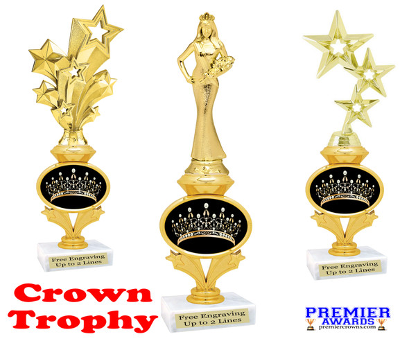 Crown theme trophy.  Great award for your pageants, contests, themed events, parties and more.  design 3