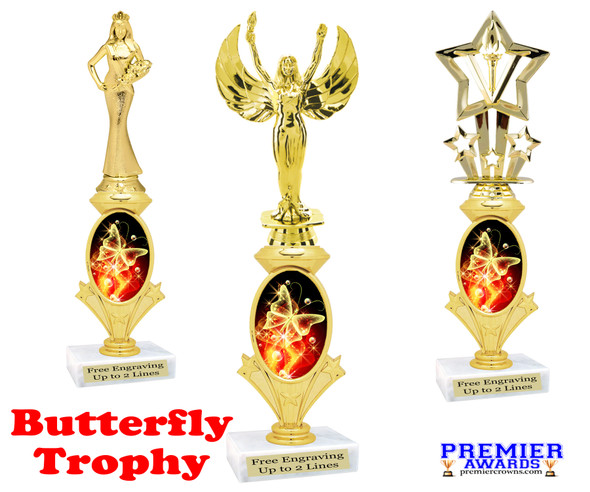 Butterfly theme trophy.  Great award for your pageants, contests, themed events, parties and more.