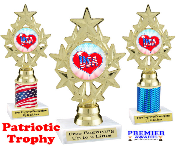Patriotic theme trophy. Great trophy for all of your patriotic themed events!  (ph75